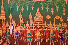Traditional Thai art. On the wall in a temple Royalty Free Stock Photo