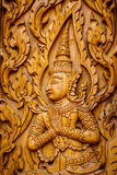 Traditional Thai Art in wood carving. Royalty Free Stock Image