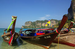 Traditional Thai boat on Railay beach, Krabi province, Thailand Royalty Free Stock Photo