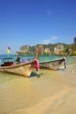 Traditional Thai boat on Railay beach, Krabi province, Thailand Royalty Free Stock Photos