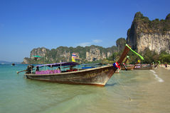 Traditional Thai boat on Railay beach, Krabi province, Thailand Royalty Free Stock Photography