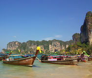 Traditional Thai boat on Railay beach, Krabi province, Thailand Stock Images