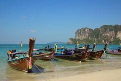 Traditional Thai boat on Railay beach, Krabi province, Thailand Royalty Free Stock Images