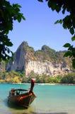 Traditional Thai boat on Railay beach, Krabi province, Thailand Stock Photos