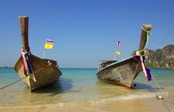 Traditional Thai boat on Railay beach, Krabi, Thailand Stock Image
