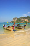 Traditional Thai boat on Railay beach, Krabi, Thailand Royalty Free Stock Photography