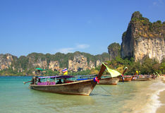Traditional Thai boat on Railay beach, Krabi, Thailand Royalty Free Stock Images