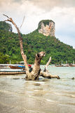 Traditional Thai boat on Railay beach Stock Images