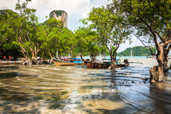 Traditional Thai boat on Railay beach Stock Photography