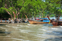 Traditional Thai boat on Railay beach Royalty Free Stock Photography