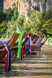 Traditional Thai boat on Railay beach Royalty Free Stock Images