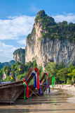 Traditional Thai boat on Railay beach Royalty Free Stock Photo