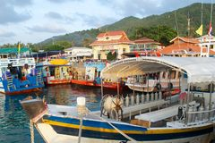 Traditional thai boats, dive boats in the port Royalty Free Stock Photography