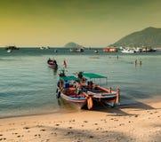 Traditional thai boats. Koh Tao - Thailand royalty free stock photo