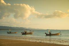 Traditional Thai boats near the beach. Royalty Free Stock Photos