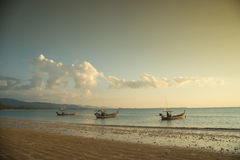 Traditional Thai boats near the beach. Royalty Free Stock Images