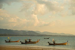 Traditional Thai boats near the beach Stock Photo