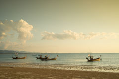 Traditional Thai boats near the beach Stock Images