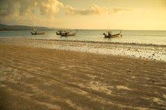 Traditional Thai boats near the beach. Royalty Free Stock Photo