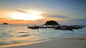 Traditional thai boats at sunrise beach Royalty Free Stock Photography