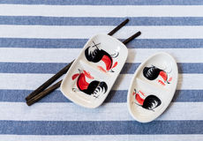Traditional Thai Chicken Bowl with Chopsticks Placed on Table Na. Traditional Thai Chicken Bowl with a Chopsticks Placed on Table Napkin Stock Images