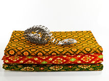 Traditional Thai Cloth with Silver Belt Stock Photo