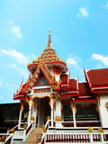 Traditional Thai crematory. Of Buddhist temple and blue sky Stock Photos