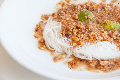 Khanom Chin, freshly made Thai rice noodles. Royalty Free Stock Image