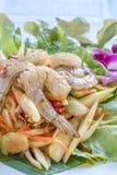 Spicy green papaya salad. Traditional thai cuisine spicy green papaya salad with shrimp stock photography