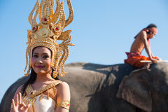 Traditional Thai Dancer Elephant Stock Photography