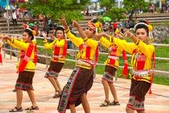 Traditional Thai dancing in Rocket festival 'Boon Bang Fai' Royalty Free Stock Image