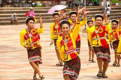 Traditional Thai dancing in Rocket festival 'Boon Bang Fai' Royalty Free Stock Image