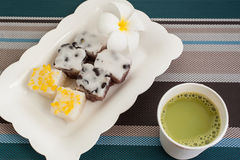 Traditional Thai Dessert With Hot Milk Green Tea  On Plate Stock Photo