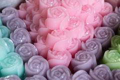 Traditional thai desserts. Thai desserts in rose shape stock images