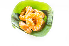 Traditional Thai donut (ka-nom-wong). Thai dessert Stock Images