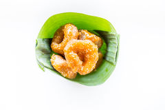 Traditional Thai donut (ka-nom-wong). Thai dessert Royalty Free Stock Photography