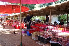 Traditional Thai Farmers Market with Umbrellas stock photography