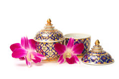 A traditional Thai five-colored famous porcelain Stock Photos