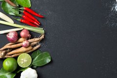 Traditional Thai food cuisine Herb ingredient of Tom Yum spicy soup  on black background Royalty Free Stock Images