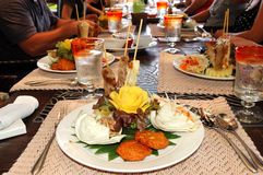 Traditional Thai food in the restaurant. Of luxury hotel, Samui island, Thailand stock photos