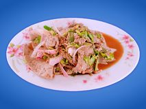 Traditional Thai Food Spicy Herbal Livers Isolated on Blue Background. Traditional Thai Food Spicy Herbal Livers with Selective Focus Isolated on Blue Background royalty free stock image