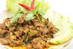 Traditional Thai food, spicy minced pork salad Royalty Free Stock Photos