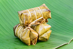 Traditional Thai food style, Glutinous rice steamed with banana Royalty Free Stock Photos