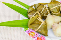Traditional Thai foodKhao Tom Mat. Traditional Thai food style, Thai dessert made from banana and glutinous rice, wrap with pandan Khao Tom Mat Stock Photos