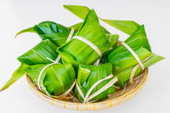 Traditional Thai foodKhao Tom Mat. Traditional Thai food style, Thai dessert made from banana and glutinous rice, wrap with pandan Khao Tom Mat Stock Images