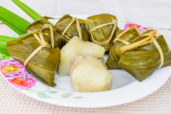 Traditional Thai foodKhao Tom Mat. Traditional Thai food style, Thai dessert made from banana and glutinous rice, wrap with pandan Khao Tom Mat Stock Photo