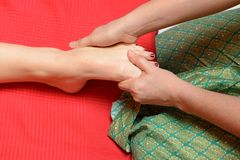 Traditional thai foot massage Royalty Free Stock Images