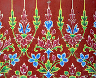 Traditional thai glazed tiles. Of the temple Royalty Free Stock Images