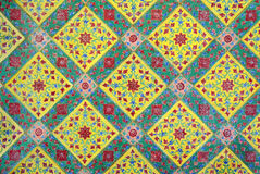 Traditional thai glazed tiles. Of the temple Stock Photography