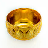 Traditional Thai gold-ware on isolated white background Royalty Free Stock Photography